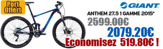 Promotion Giant 2015 - Profitez de notre offre de destockage Giant 2015 de 20 a 30% de remise sur une selection de vélo. Anthem 27.5 1 Giant sur notre site velocity.fr et notre store Giant Caen