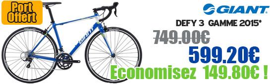 Profitez de notre offre de destockage Giant 2015 de 20 a 30% de remise sur une selection de vélo. Defy 3 2015 Giant sur notre site velocity.fr et notre store Giant Caen