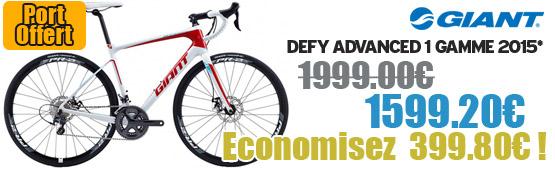 Profitez de notre offre de destockage Giant 2015 de 20 a 30% de remise sur une selection de vélo. Defy advanced 1 2015 Giant sur notre site velocity.fr et notre store Giant Caen