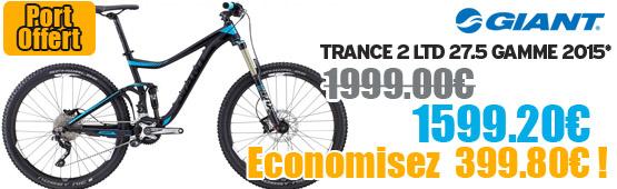 Promotion Giant 2015 - Profitez de notre offre de destockage Giant 2015 de 20 a 30% de remise sur une selection de vélo. Trance 27.5 2 LTD Giant sur notre site velocity.fr et notre store Giant Caen