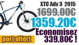 Profitez de notre offre de destockage Giant 2015 de 20 a 30% de remise sur une selection de vélo. XTC adv3 Giant sur notre site velocity.fr et notre store Giant Caen