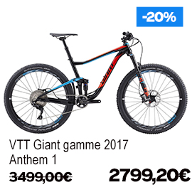 Destockage gamme Giant et Liv 2017 vélo de route VTT vélo de ville vélo electrique , de 15% a 30% de remise sur une selection de vélos , a decouvrir a caen fleury-sur-orne dans notre Giant Store Caen - anthem 1 giant