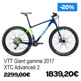 Destockage gamme Giant et Liv 2017 vélo de route VTT vélo de ville vélo electrique , de 15% a 30% de remise sur une selection de vélos , a decouvrir a caen fleury-sur-orne dans notre Giant Store Caen - xtc advanced 2 giant