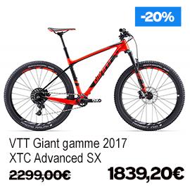Destockage gamme Giant et Liv 2017 vélo de route VTT vélo de ville vélo electrique , de 15% a 30% de remise sur une selection de vélos , a decouvrir a caen fleury-sur-orne dans notre Giant Store Caen - xtc advanced sx giant
