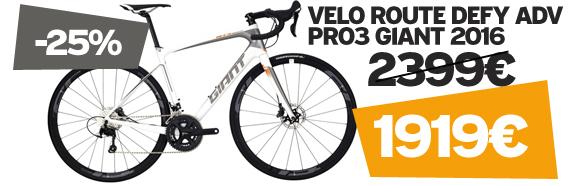 -25% sur Defy advanced Pro 3 Giant 2016 sur notre site velocity.fr et dans notre Giant Store Caen