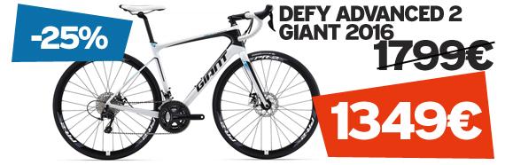 -25% sur Defy advanced 2 Giant 2016 sur notre site velocity.fr et dans notre Giant Store Caen