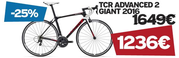-25% sur Tcr advanced 2 Giant 2016 sur notre site velocity.fr et dans notre Giant Store Caen