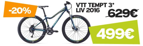 Promotion -20% sur Tempt 3 Liv 2016 sur notre site velocity.fr et dans notre Giant Store Caen
