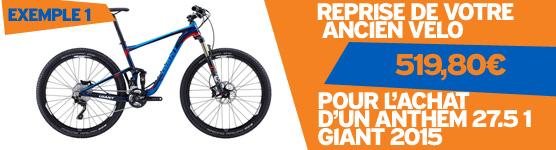 Prime a la casse Giant 2015. Du 7 au 28 mars 2015 nous reprenons votre ancien vélo pour l'achat d'un vélo Giant 2015, jusqu'a 1798€ de reprise, pour connaitre la valeur de reprise de votre ancien vélo contactez nous au 0231344536, operation valable sur l'ensemble de la gamme GIANT 2015, dans la limite des stocks disponibles