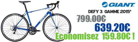 Promotion Giant 2015 - Profitez de notre offre de destockage Giant 2015 de 20 a 30% de remise sur une selection de vélo. Defy 3  Giant sur notre site velocity.fr et notre store Giant Caen