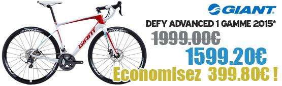 Promotion Giant 2015 - Profitez de notre offre de destockage Giant 2015 de 20 a 30% de remise sur une selection de vélo. Defy Adv 1  Giant sur notre site velocity.fr et notre store Giant Caen