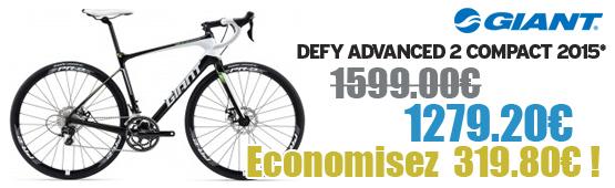 Promotion Giant 2015 - Profitez de notre offre de destockage Giant 2015 de 20 a 30% de remise sur une selection de vélo. Defy Adv 2 compact  Giant sur notre site velocity.fr et notre store Giant Caen