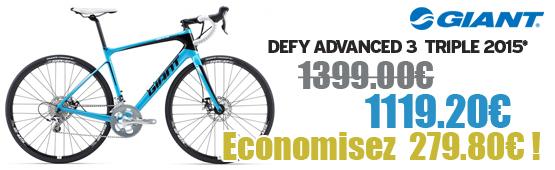 Promotion Giant 2015 - Profitez de notre offre de destockage Giant 2015 de 20 a 30% de remise sur une selection de vélo. Defy Adv 3 triple  Giant sur notre site velocity.fr et notre store Giant Caen